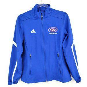"""Adidas Women's Cut Lightweight Jacket Style 6963W Royal Blue """"CB Athletics"""" Y2K"""